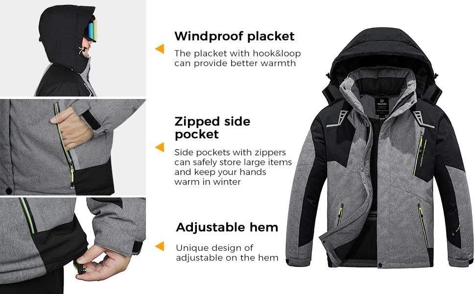Wantdo Men's Mountain Waterproof Ski Jacket Warm Winter Snow Coat Windproof Raincoat Outdoor