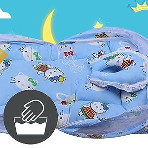 Fareto Baby Folding Teddy Print Mattress with Mosquito Net(0-6 Months) (Blue)(Size: L-34Inchs, B-22Inchs)