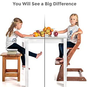 Fornel Heartwood Dark Walnut Adjustable Wooden High Chair for Babies and Toddlers Highchair from 24 Months