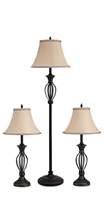 Hand-Twisted Scroll Style lamps set