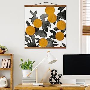 Canvas Tapestry, Hanging Canvas, Canvas Art, Home Office, Desk, Teak Trim
