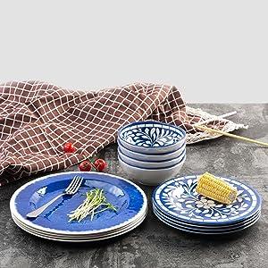 Amazon.com | Melamine Dinnerware Set - 12 Pcs Dinner