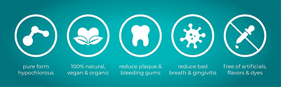 mouth wash healing decay plaque periodontist disease bad breath hocl hypochlorous acid inflammation