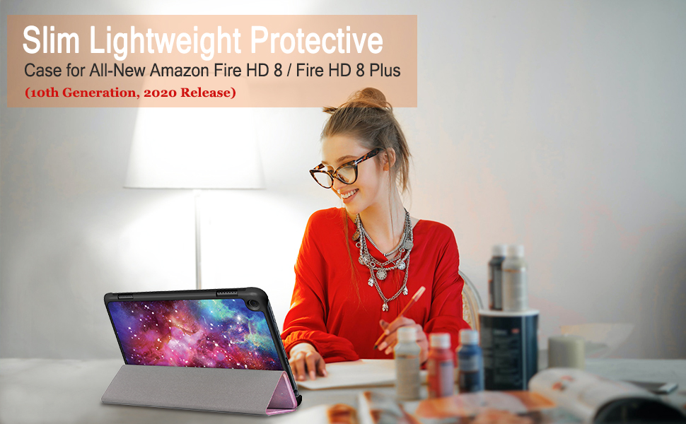 Fire HD 8 2020 PU Leather Ultra Slim Case Tri-Fold Cover Protective Tablet Cover for  Fire HD 8 Plus//Fire HD 8 2020 Release HoYiXi Case for All-new Fire HD 8 Plus 2020 red