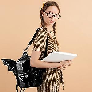 Women Fashion Mini Backpack Purse  Detachable Bat Angel Wing Shoulder Bag feature details