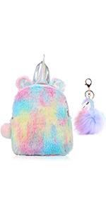 Unicorn Backpack Lightweight Cute Mini Rainbow 3D Soft Plush Backpack