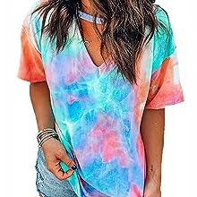Colorblock Gradient Short Sleeve Choker V Neck T-Shirt Summer Casual Blouse