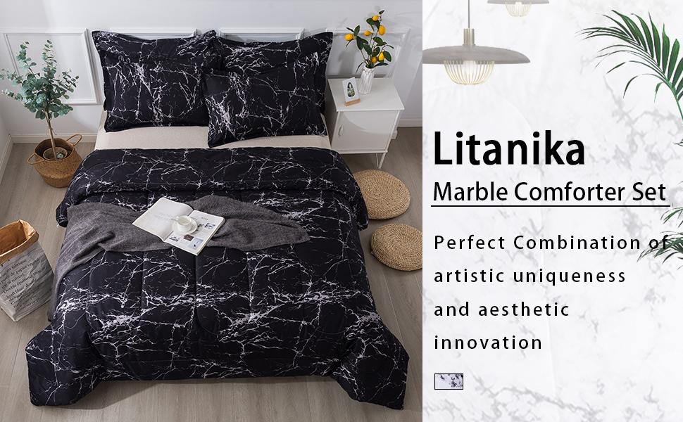 Litanika black marble comforter