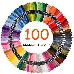 Santune Embroidery Starter Kit 216 Pcs with Instructions,5 Pcs Bamboo Embroidery Hoops,100 Color Embroidery Threads,3 Pcs Embroidered Cloth,DIY Cross Stitch Kits for Adults Kids and Beginner