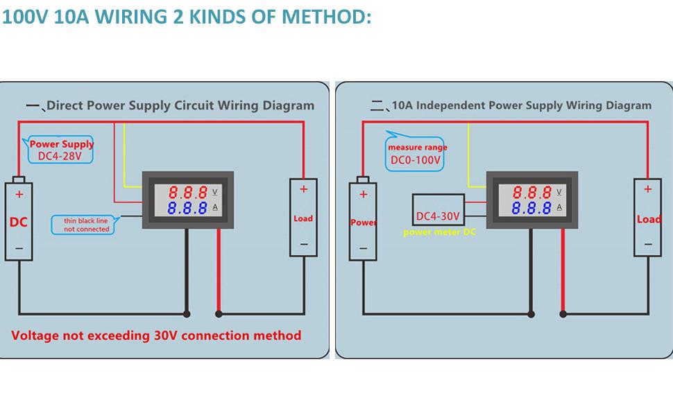 5Pcs Nmini Digital Voltmeter Ammeter Dc 100V 10A Voltmeter Current Meter Tester