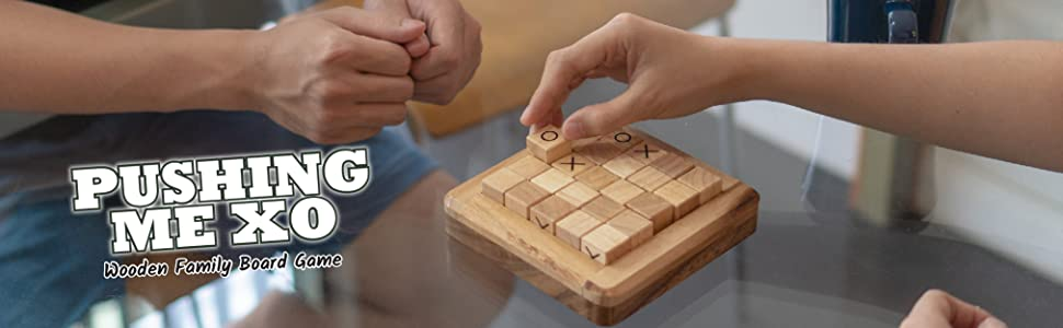Board Games Fun Children Family Challenges Kids Adult Brain Strategy Wooden Classic Pushing Me XO