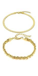 herringbone rope bracelets chain wome men boys girls statement stackable layered summer vacation