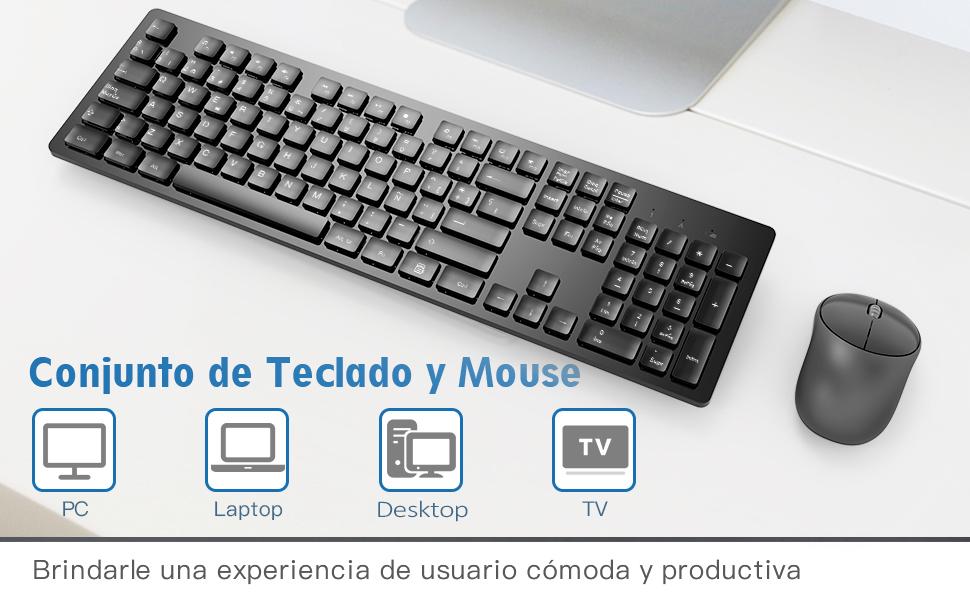 TedGem Teclado y Raton Inalambrico Español, 2.4G Teclado Inalambrico USB Teclado Raton Inalambrico PC Ergonómico Teclado Inalambrico PC con 105 Tecla ...