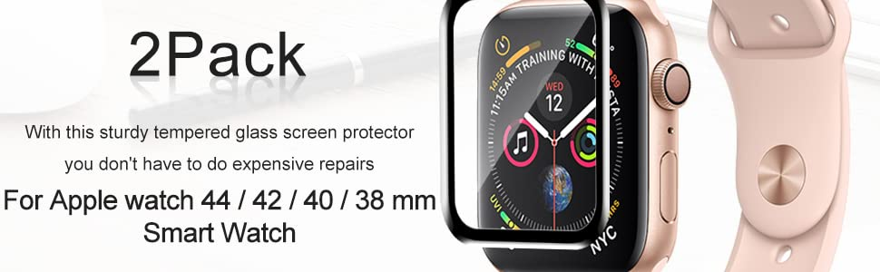 2Pack screen protector for apple watch 44mm/42mm/40mm/38mm smart watch