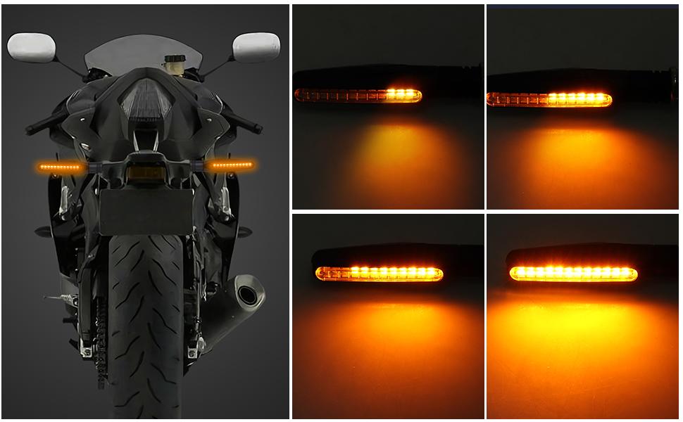 Size : 4PCS Indicatori di direzione 4PCS del motociclo Luce Relay Acqua fluente lampeggiante 12LED lampeggiatore Bendable di coda del segnale per il ciclismo allaperto, Fanale posteriore bici