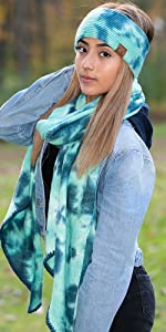 tie dye headwrap and matching infinity scarf