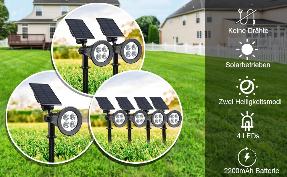Auffahrt. 2 Beleuchtungsmodi Nat/ürliches Wei/ß 4000K T-SUN LED Solarleuchten Rasen Wege Auto-on//off 2-in-1 Wasserdicht Drahtlos Solarbetriebene Gartenleuchten Outdoor Wandleuchte f/ür Hof