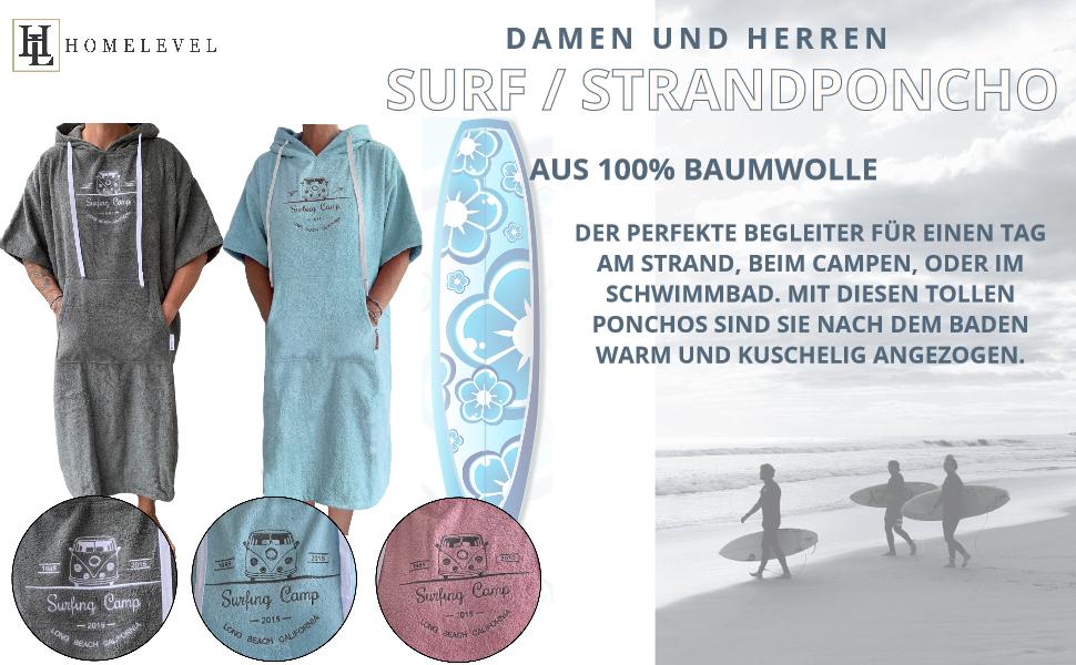 HOMELEVEL Accueil Femmes et hommes Poncho de surf Poncho de plage Poncho de bain Serviette de plage Cape coton mix /éponge velours avec capuche