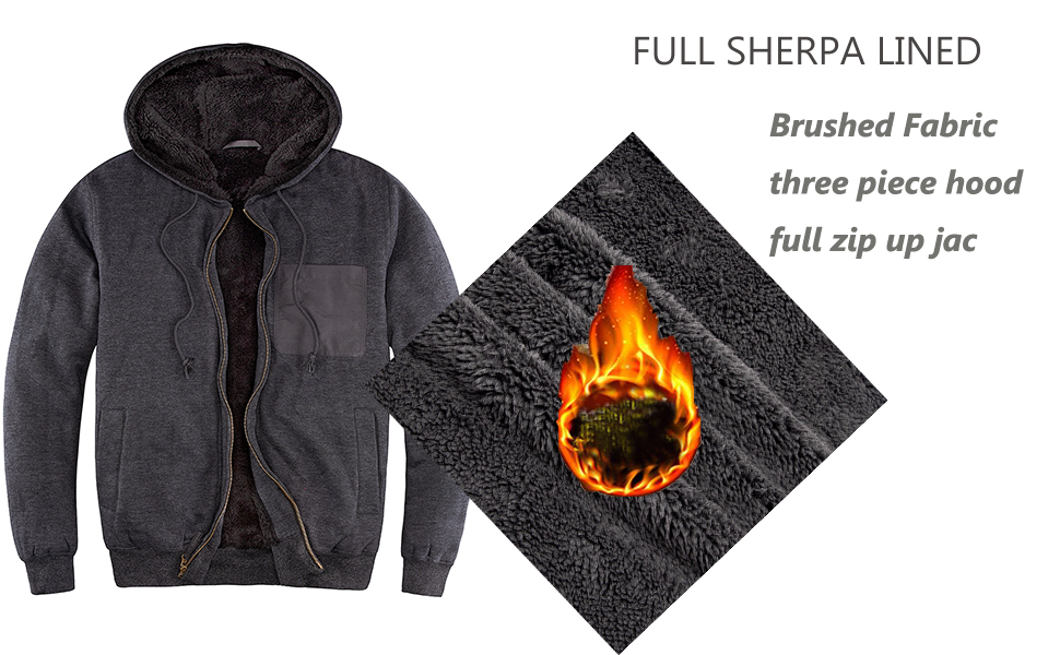 Mens Casual Winter Warm Sherpa Lined Full Zip Up Hoodie Sweatshirt Jacket Coat