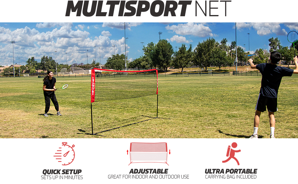 Powernet's Multisport Net perfect for Badminton, Tennis, Volleyball, Pickleball and Soccer Tennis