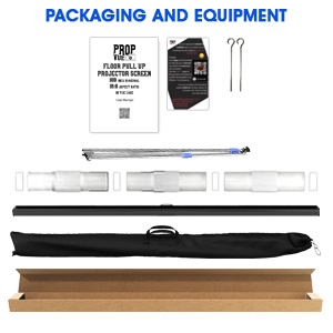 Projector Screen with Stand in box with secured design and full outdoor kit for easy set up & carry