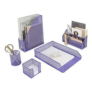 Purple Desk Organizer Set