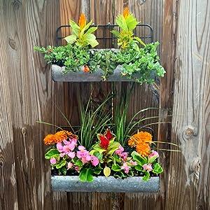 wall floating shelves herb planter two tier galvanized bathroom tray wall storage rack tin shelf