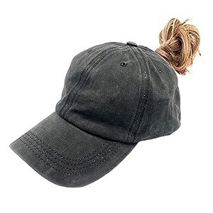 Little girls plain ponytail hat black