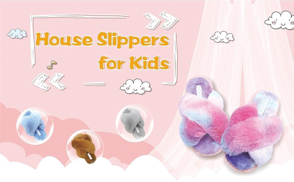 Cross Open Toe Fuzzy Fluffy House Slippers for Kids Girls Boys Plush Criss Cross Slides Slippers