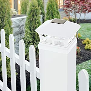 solar light on fence post