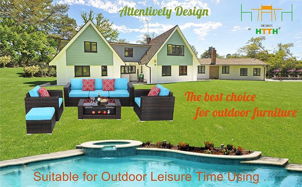 Outdoor Patio Rattan Sofa