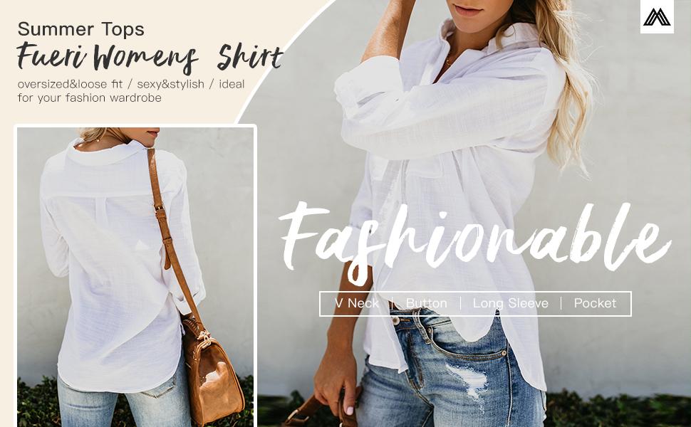 long sleeve oversized shirt for women button down blouse summer Tops