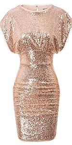 women sequin ruched dress
