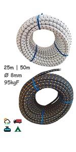 Elastisch touw 8 mm. Monotex polyethyleen. zwembaden.