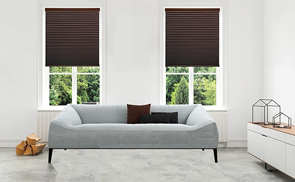 dark brown colored blackout cellular shades