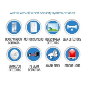 works with all wired security system devices