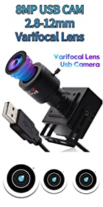 8mp 2.8-12mm varifocal lens usb camera