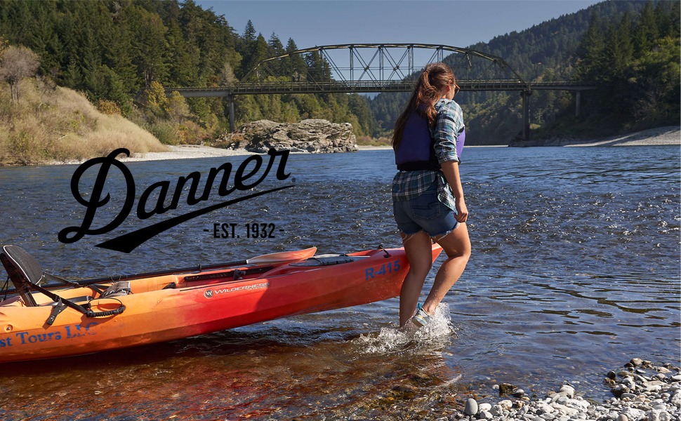 woman pulling her canoe