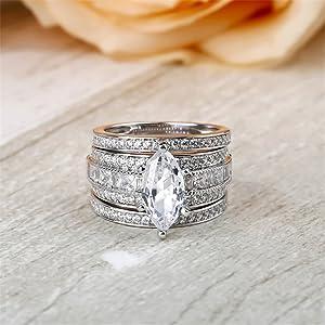 JEULIA 2 Carat 3PC Wedding Ring Set for Women Marquise Cut CZ Engagement Rings