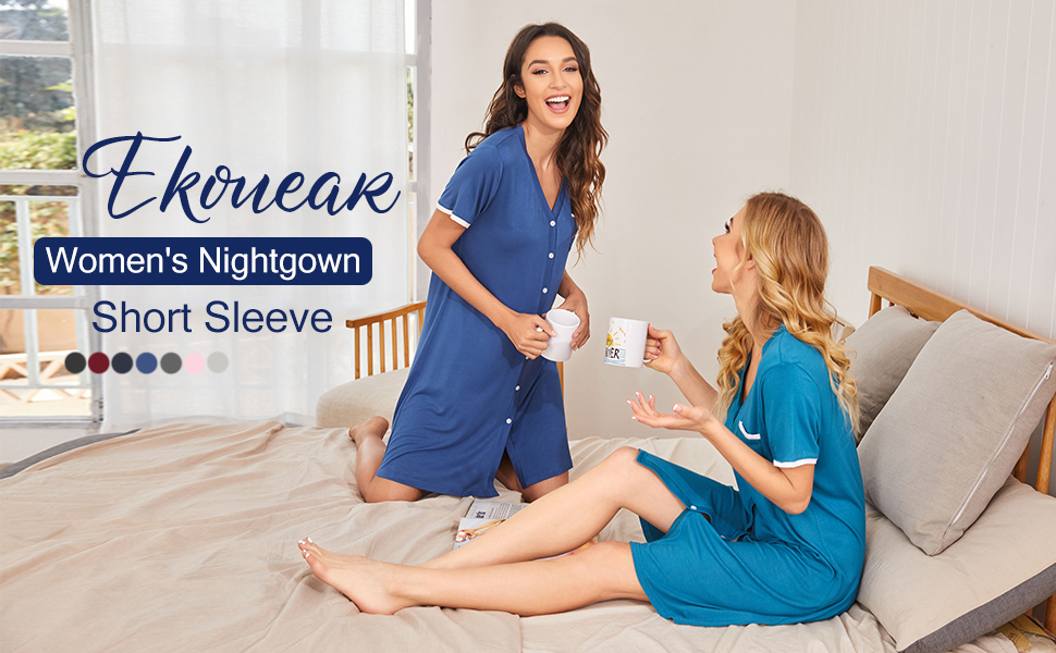 Ekouaer Short Sleeve Nightgowns for Women