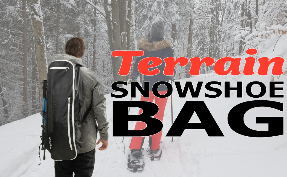 Athletico Terrain Snowshoe Bag for Snow Shoes, Backpack on man's back with snowshoes