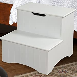 Fine Kings Brand Large White Finish Wood Bedroom Step Stool With Storage Gamerscity Chair Design For Home Gamerscityorg
