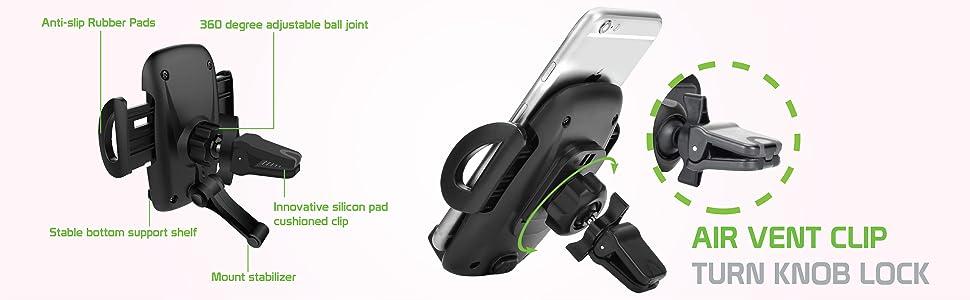 air vent clip turn knob