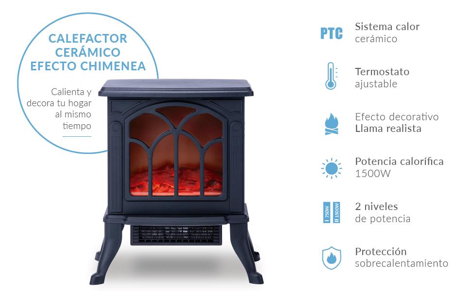 chimenea, estufa, estufa eléctrica, chimenea efecto llama, termoventilador, calefactor