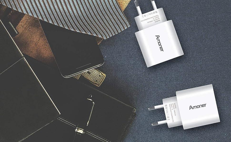 Amoner Cargador USB de Pared con 3 Puertos Cargador USB 3A Una Corriente Máxima de 2,4A Cargador Móvil para Todos Los Tipos de Celular 2 Packs ...