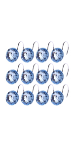Rhinestone Decorative Shower Curtain Hooks Rings, 12pcs Acrylic Shower Hooks Bling Round Diamond