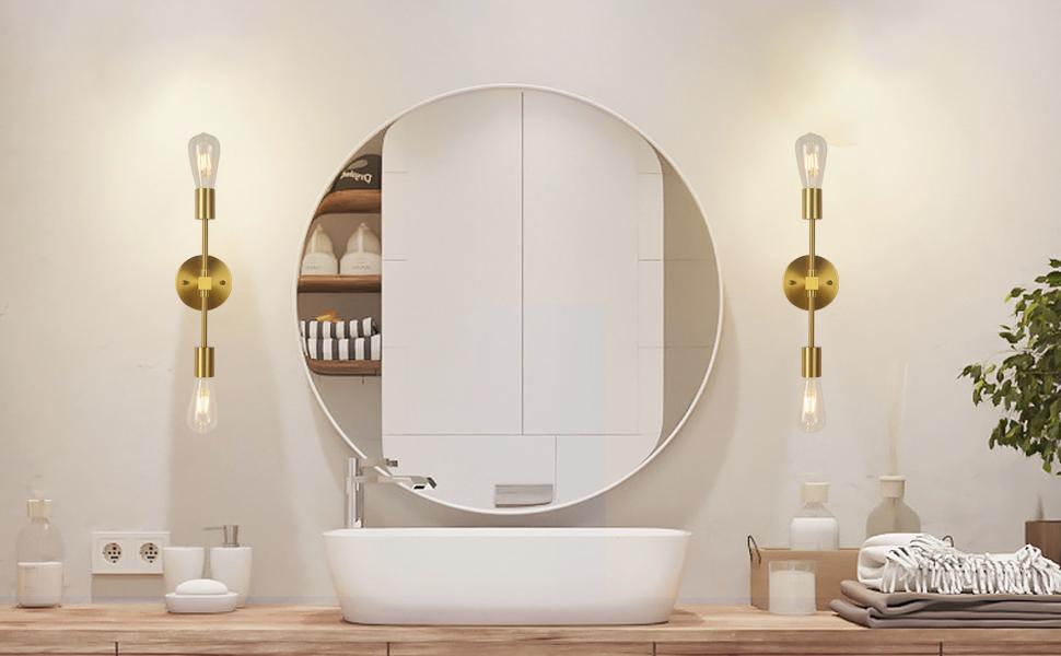złoty kinkiet ścienny toaletkowy