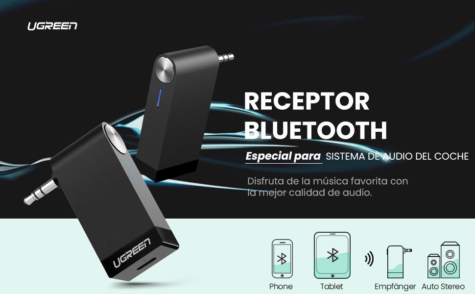 UGREEN Receptor Bluetooth 5.0, Auxiliar Bluetooth Coche con Micrófono para Llamadas Manos Libres, Adaptador Audio Jack 3.5 con EDR y A2DP HiFi Estéro para Coche ...