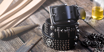 hand made leather belt with studs