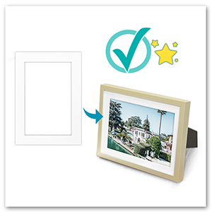 white mat in gold aluminum frame checkmark it fits and protects nice look style